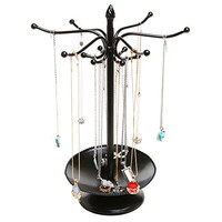 Victorian Style Black Metal Bracelet / Necklace Jewelry Organizer Tree Hooks Rack Stand w/ Ring Dish Tray