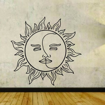 Sun and Moon Design Vinyl Wall Decal Sticker
