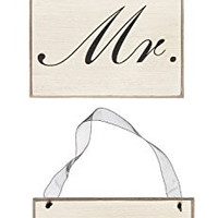 Mr. & Mrs. Decorative Hanging Signs - Black Script on Ivory with Black Ribbon - 5-1/2-in (Set of 2)