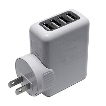 4-Port USB Charger AC Wall Plug Power Adapter