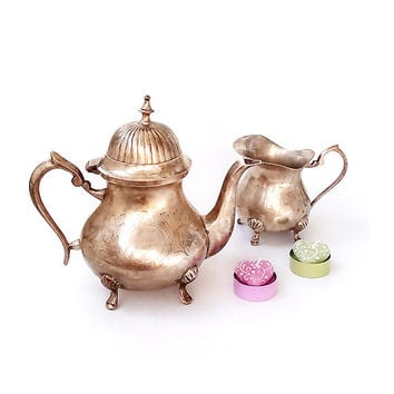 SALE 15% OFF Vintage Silver Plated Teapot with creamer, Victorian Teapot and creamer , Silver Plated  tea set