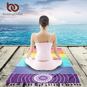 BeddingOutlet 7 Chakra Rainbow Stripes Tapestry Geometric Mandala Blanket Cotton Rectangle Bohemia Beach Towel Yoga Mat 75x150cm