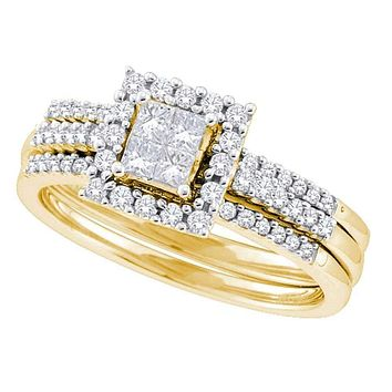 14kt Yellow Gold Women's Princess Diamond 3-Piece Halo Bridal Wedding Engagement Ring Band Set 1/2 Cttw - FREE Shipping (US/CAN)