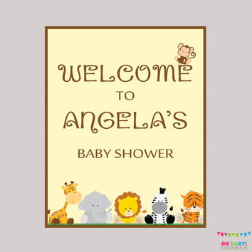 Safari Baby Shower Welcome Sign - Printable, Personalized Baby Shower Welcome Sign - Welcome to the Baby Shower Sign Safari - BS0001-N