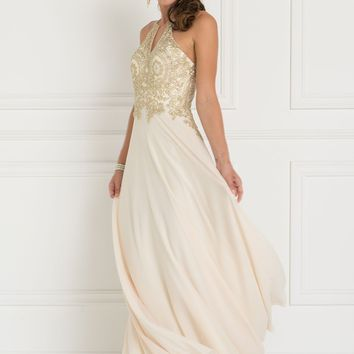 Flowy prom dress with v-cut back GLS 1526