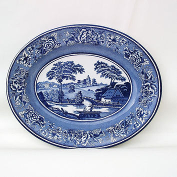 Blue and White Tray, Tin Platter, Daher Decorated Ware, English Transferware, Oval Plate