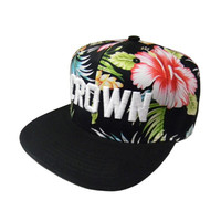 CROWN Embroidered Text on Hibiscus Flower and Leaf Pattern Snapback Cap - Brand New - One Size - Fashion