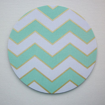 Mouse Pad mousepad / Mat - round - Shiney gold mint chevron - Computer Accessories Geekery Custom Desk Coworker Gifts Office Gifts