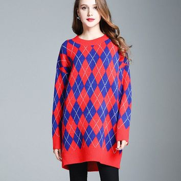 Female Autumn Winter New Crew Neck Soft Cashmere Geometric Rhombus Diamond-shaped Long Knit Sweater Jumper Coat