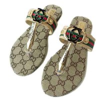 GUCCI Trending Slippers Women Casual Letter Print Flat Sandal Slipper Shoes Apricot