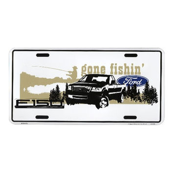 Smart Blonde Ford Truck F-150 Gone Fishin Embossed Vanity Metal Novelty License Plate Tag Sign MC50138