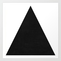 mod triangles - black and white Art Print by Her Art