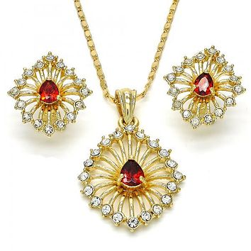 Gold Layered Necklace and Earring, with Crystal and Cubic Zirconia, Gold Tone