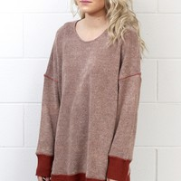 Reverse Stitching Boxy Sweater {Rust Mix}