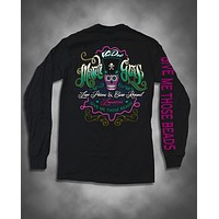 Sweet Thing Mardi Gras Voodoo Sugar Skull Skeleton Beads Bright Girlie Long Sleeve T Shirt