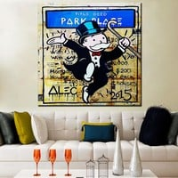 New Fashion park Alec monopoly Graffiti arts print canvas for wall art decoration oil painting wall painting picture No framed