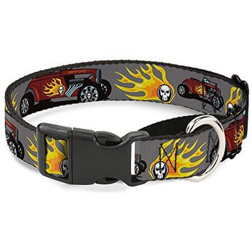 Buckle-Down Hot Rod with Flame Skull Martingale Dog Collar