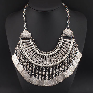 Boho Statement Design Vintage Chokers Coins Tassel Pendant Long Necklaces For Women 2015 Big Jewelry Fashion Accessories