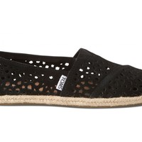 TOMS Black Moroccan Cutout Women's Classics Slip-on Shoes,