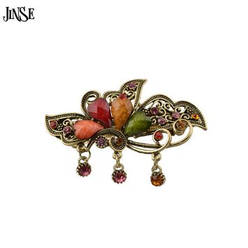 JINSE Vintage Women Elegant Natural stone Flower Hairpins Hair Barrette Clip Crystal Flower Hair Clip Hair Accessories