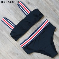 RXRXCOCO High Waist Bikini Set 2018 New Swimsuit Women Halter Bandage Bikini Push Up Swimwear Padded Bathing Suit Swimming Suit