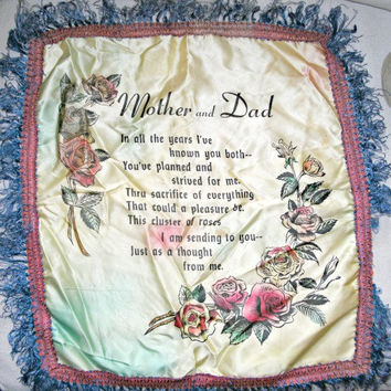 Boho Vintage Pillow Cover | Mother and Dad Poem | Shabby Chic