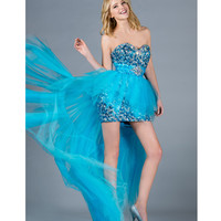 2013 Prom Dresses - Blue Sequin & Tulle Strapless High-Low Prom Dress - Unique Vintage - Cocktail, Pinup, Holiday & Prom Dresses.