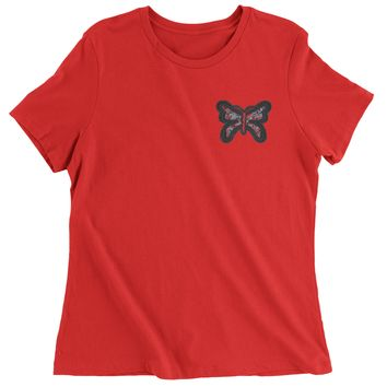 Embroidered Rhinestone Butterfly (Pocket Print) Womens T-shirt