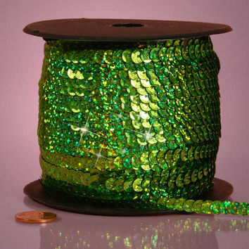 Moss Light Green Holographic Faceted Extra Sparkle String 6mm x 80 yards Sequins