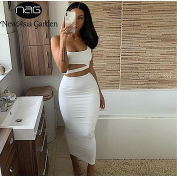 NewAsia 2 Layers Long Skirts Two Piece Set Summer Party Wear Women Two Piece Outfits Sexy Sleeveless Plus Size 2 Piece Skirt Set