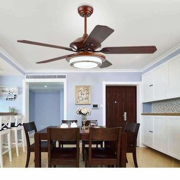 New Chinese ceiling chandelier fan minimalist home bedroom ceiling chandelier fan LED with remote control antique vintage