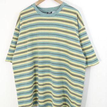 OVERSIZED STRIPED TEE // green striped tshirt / yellow stripes / black stripe / loose / baggy / hip / 90s vintage / adult / large xl