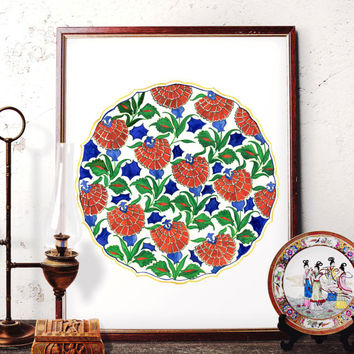 Traditional Turkish Red Carnation Pattern Watercolor Painting, Ottoman Floral Home Decor, Vintage Flower Art Prints and Original Painting