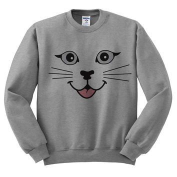 Grey Crewneck - Cat Face - Cat Sweater Jumper Pullover Kittens