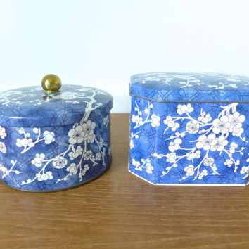 Two Daher blue cherry blossom lidded tins, made in England