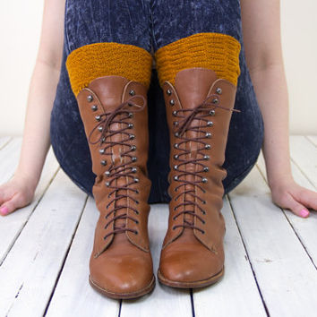 vintage brown lace up boots 8 / brown leather combat boots / leather lace up booties / lace up roper boots