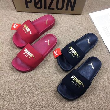 """Puma"" Unisex Beach Fashion Letter Gold Velvet Slippers Couple Home Sandals Flats Shoes"