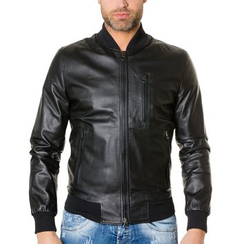 Men's Leather Jacket bomber black colour Gaudil