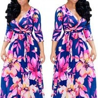 Blue Flowers Print Sashes Cleavage Half Sleeve A-line Plus Size Maxi Dress
