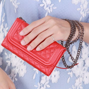 Metal Chain + Mirror !! Women Girl Mini Purse Wallet Case for iPhone 6 Grid Skin Leather Cover Full Body Flip Handbag Phone Bags