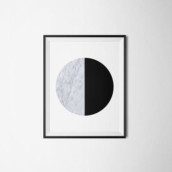 Printable poster, Black circle poster, Marble circle poster, Black and white poster, Marble, Wall art, Printable wall art, Instant download