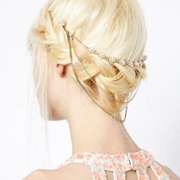 Gold & Floral Rhinestone Three Piece Head Chain Bun Hair Cuff Chain Headband Wedding Party