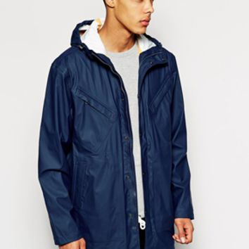 Selected Hooded Rain Trench - Blue