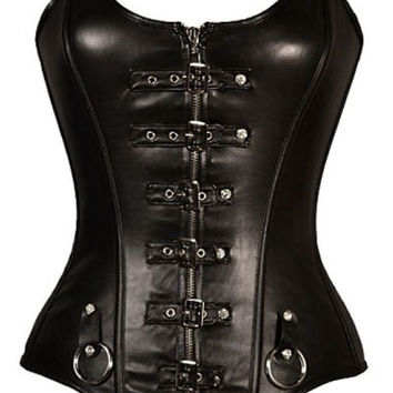 Punk Buckled Straps Full Zipper All Black Leather Corset Women Bustiers Gothic Clothing Espartilho Corselets