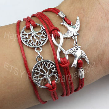 Antique Silver lover bird bracelet ,Infinity,wish tree bracelet- red Wax Cords Bracelet--gift for girl friend,boy friend.-Best Gift