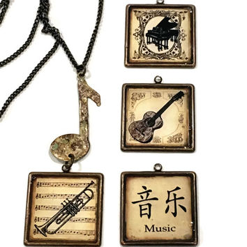 Music Pendants, Long brass chain with hand-painted Musical Note Connector