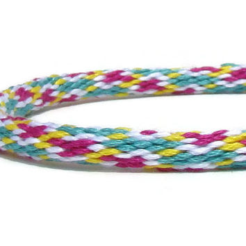 NEW-- pink, yellow, and seafoam green friendship kumihimo bracelet with or without magnetic clasp-- your choice