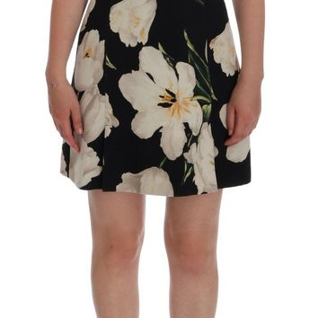 Black Wool White Tulip Print Shift Dress
