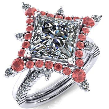 Thalim Princess/Square Moissanite 4-Point Star Padparadscha Sapphire and Diamond Halo Ring ver. 2