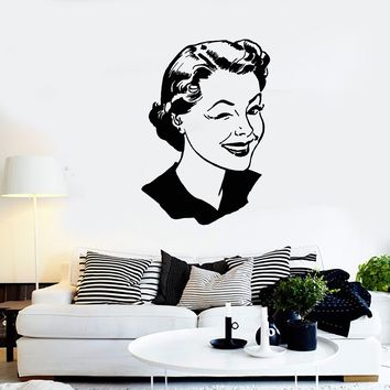 Vinyl Wall Decal Pin-up Model Retro Winking Girl Face Vintage Woman Stickers (2517ig)